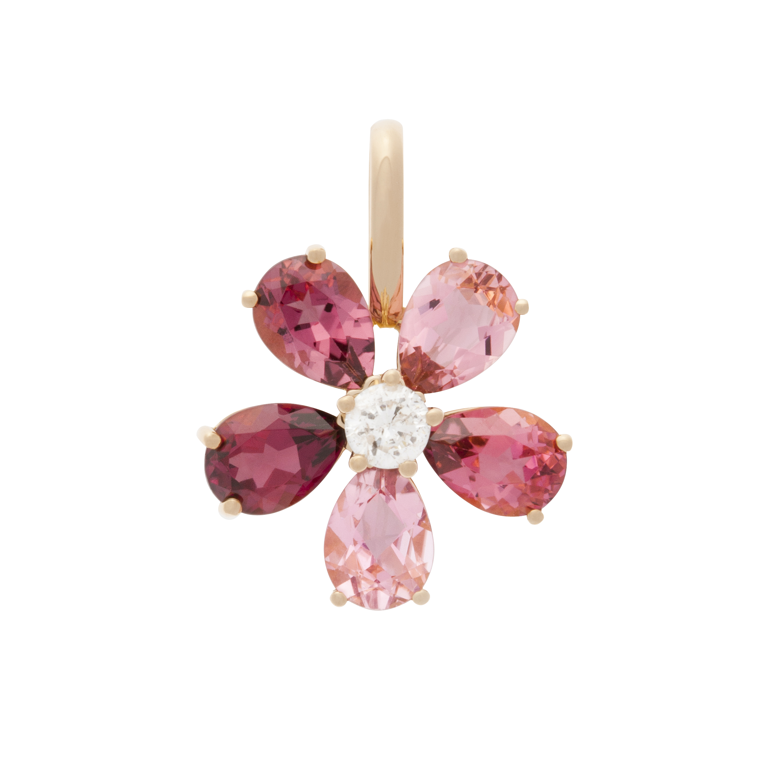 Pendentif Flowers Tourmaline in Or rose