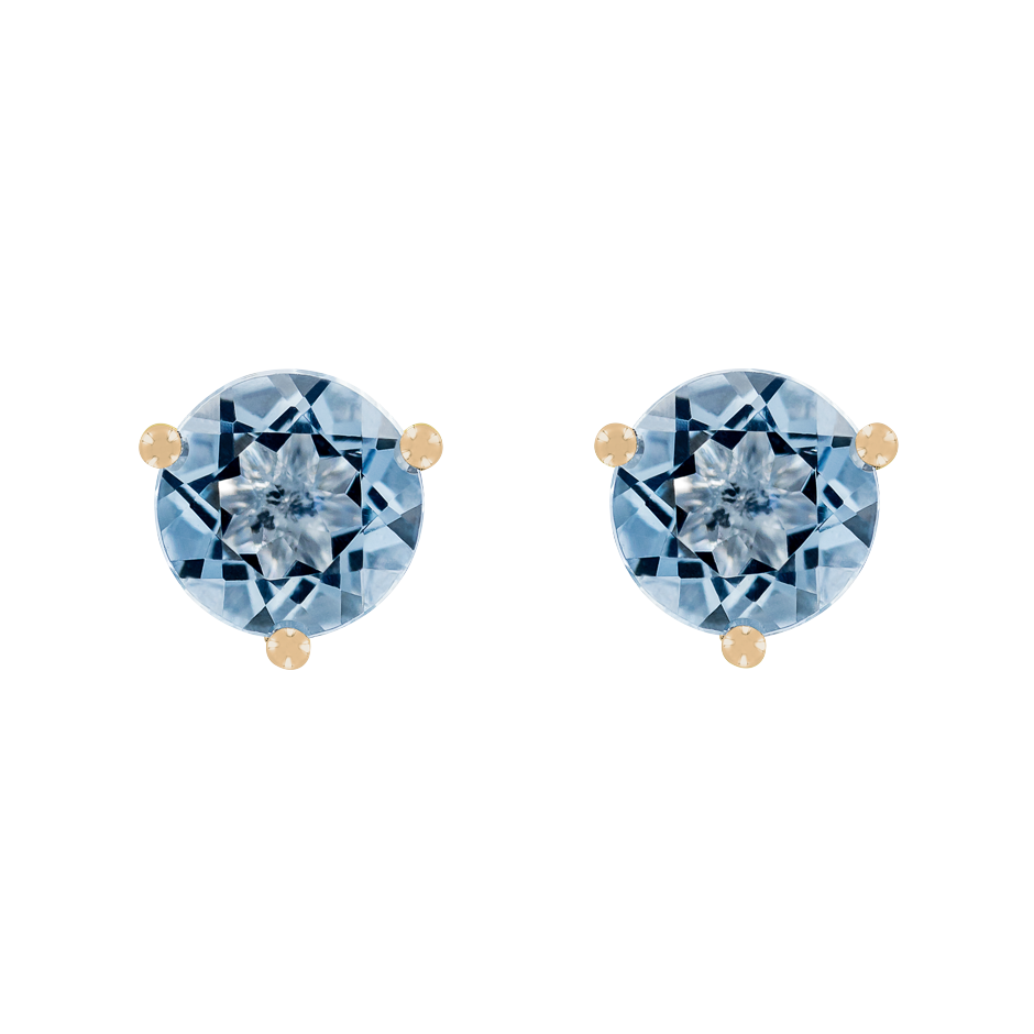 Stud Earrings 3 Prongs Aquamarine blue in Rose Gold