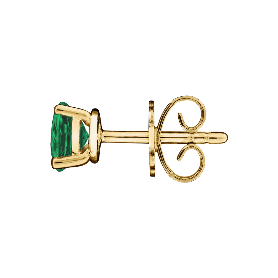 Stud Earrings 3 Prongs Emerald green in Yellow Gold