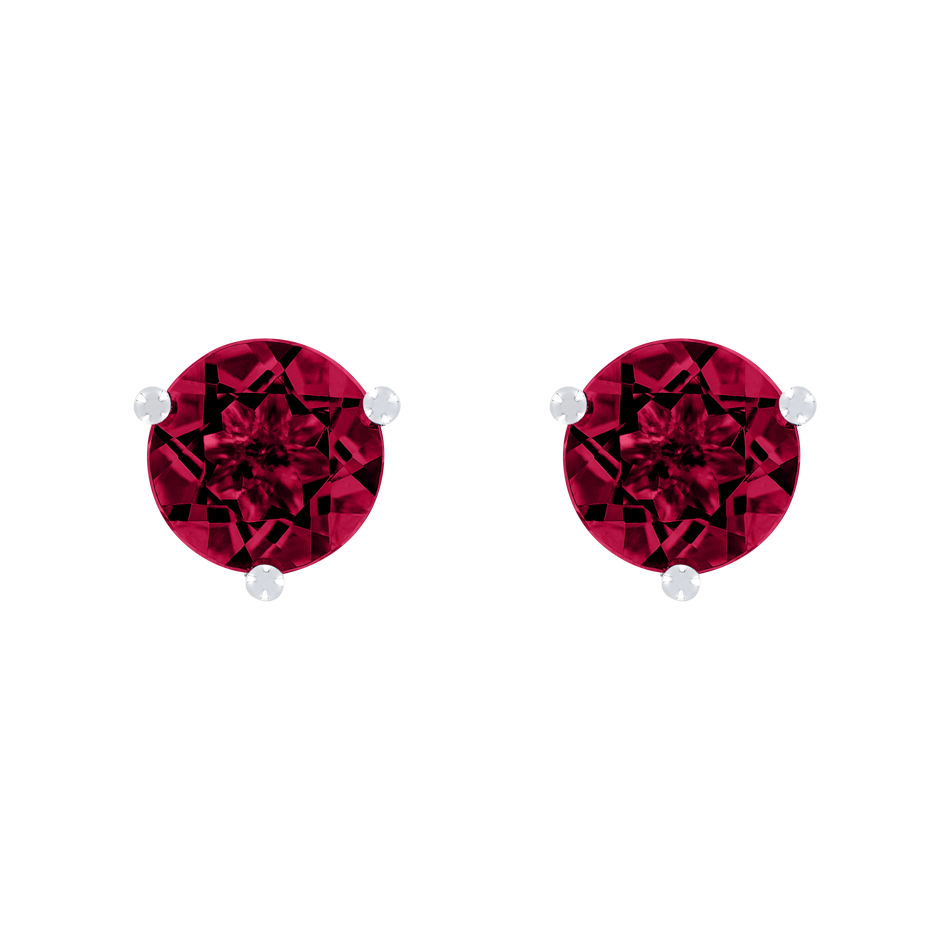 Stud Earrings 3 Prongs Ruby red in Platinum