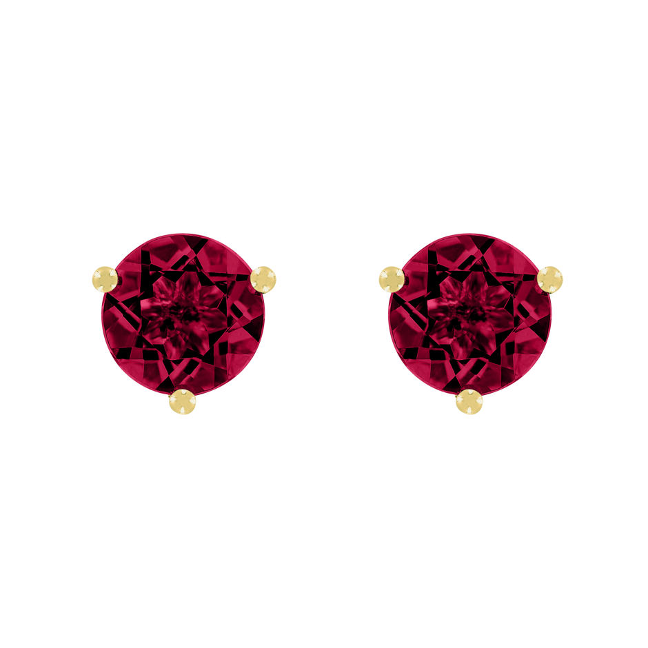 Stud Earrings 3 Prongs Ruby red in Yellow Gold
