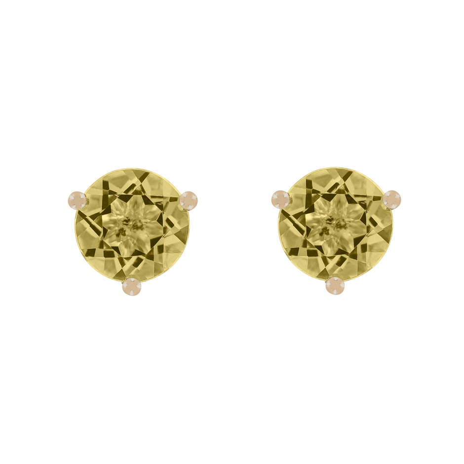 Stud Earrings 3 Prongs Sapphire yellow in Rose Gold