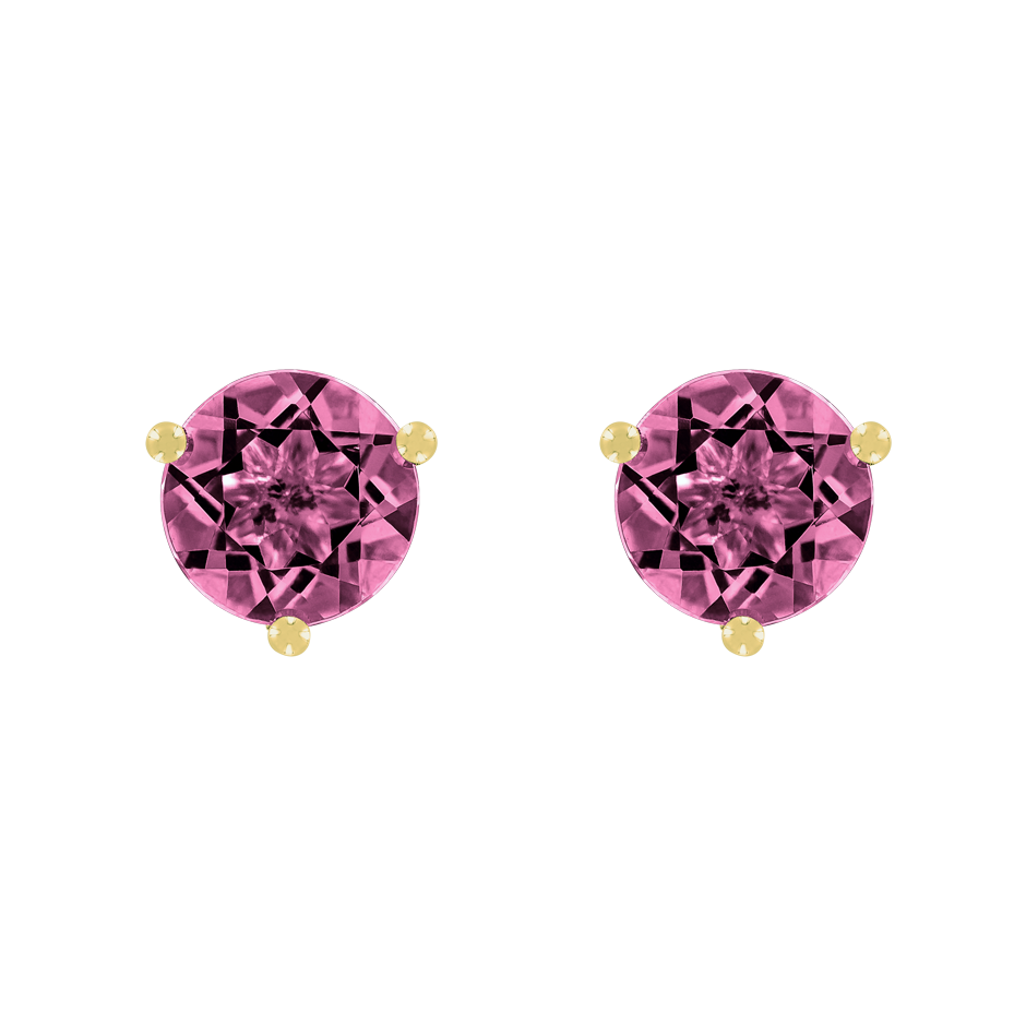 Stud Earrings 3 Prongs Tourmaline pink in Yellow Gold