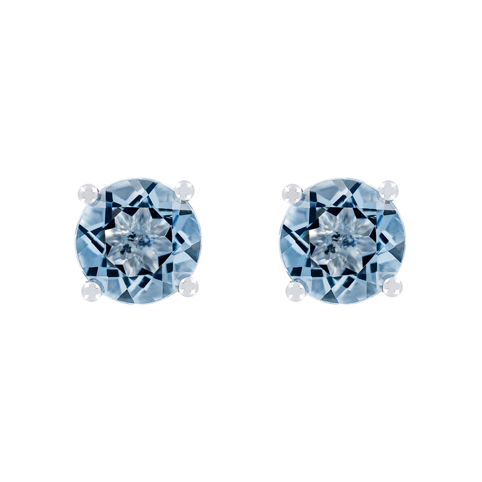 Stud Earrings 4 Prongs Aquamarine blue in Platinum