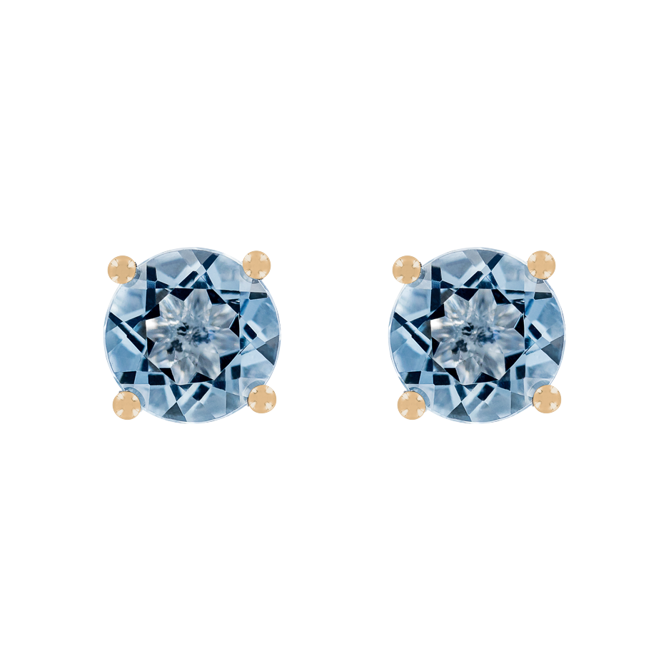 Stud Earrings 4 Prongs Aquamarine blue in Rose Gold