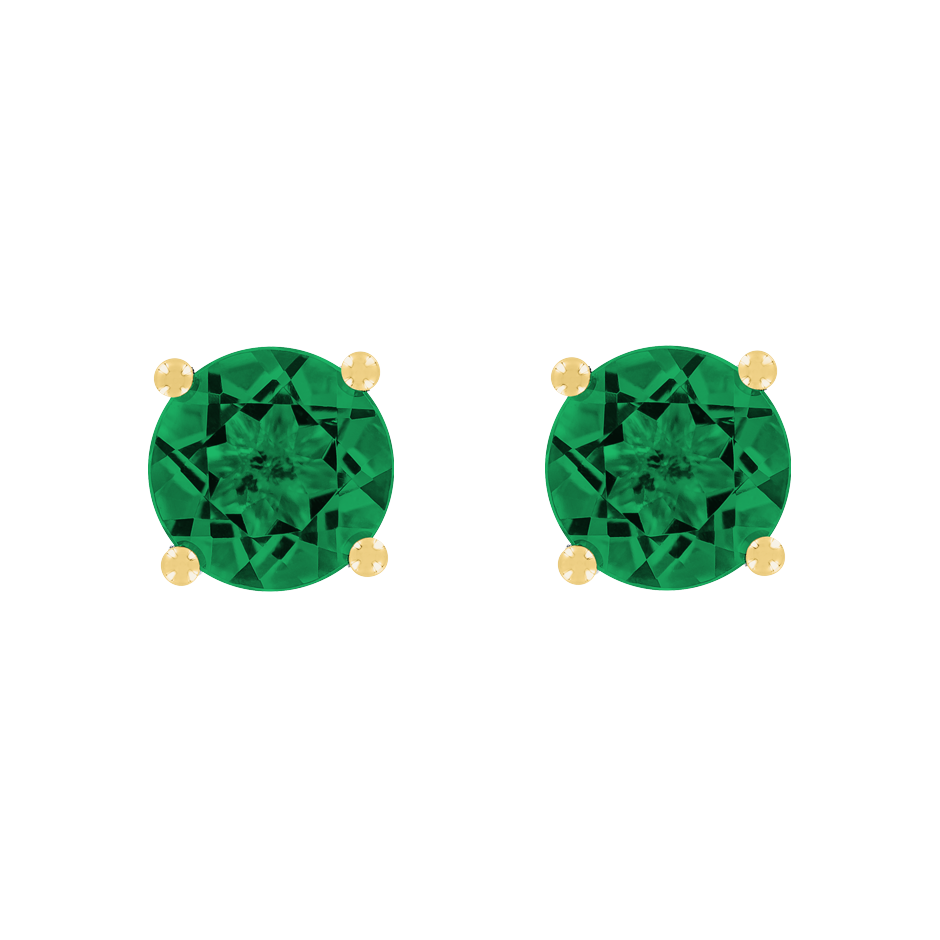 Stud Earrings 4 Prongs Emerald green in Yellow Gold