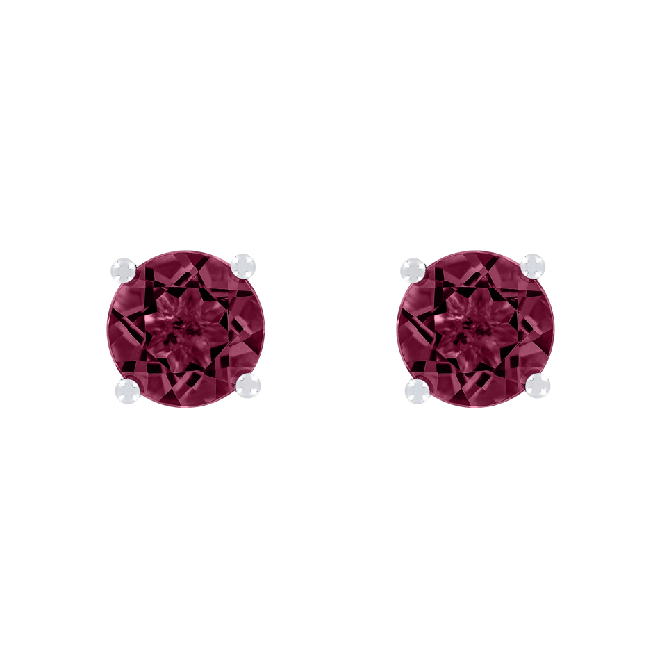 Stud Earrings 4 Prongs Rhodolite red in White Gold