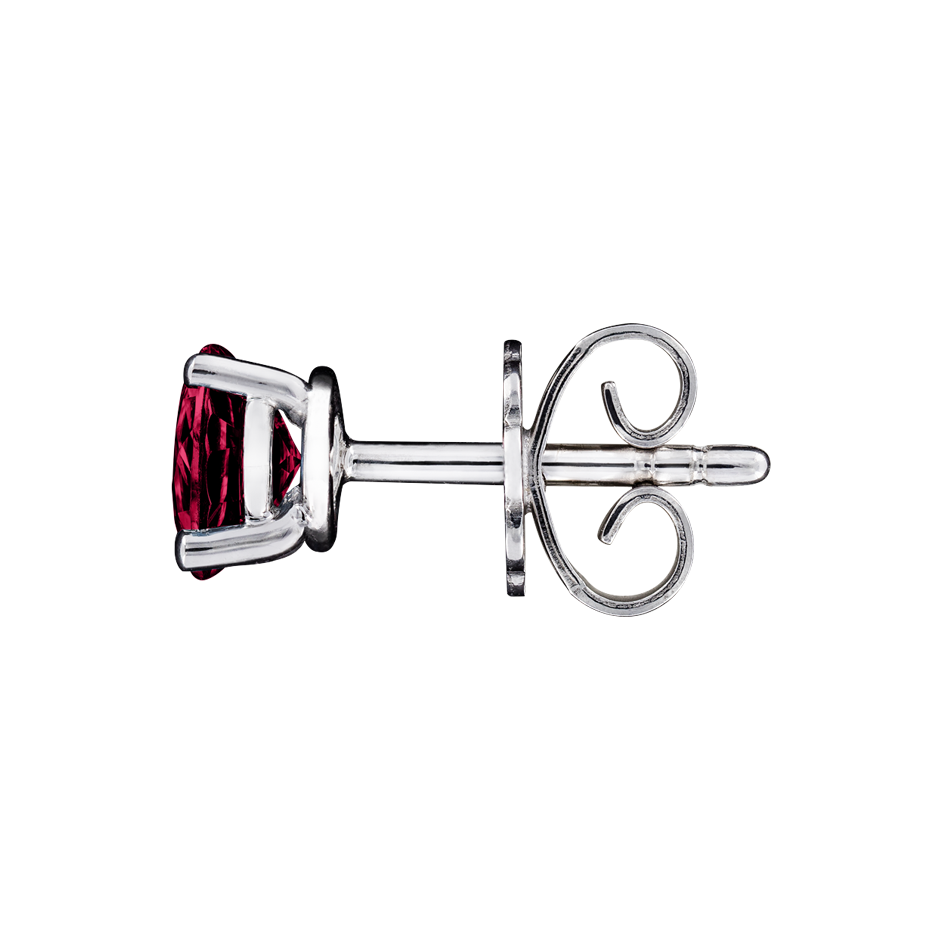 Stud Earrings 4 Prongs Ruby red in White Gold