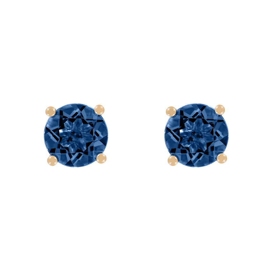 Stud Earrings 4 Prongs Sapphire blue in Rose Gold