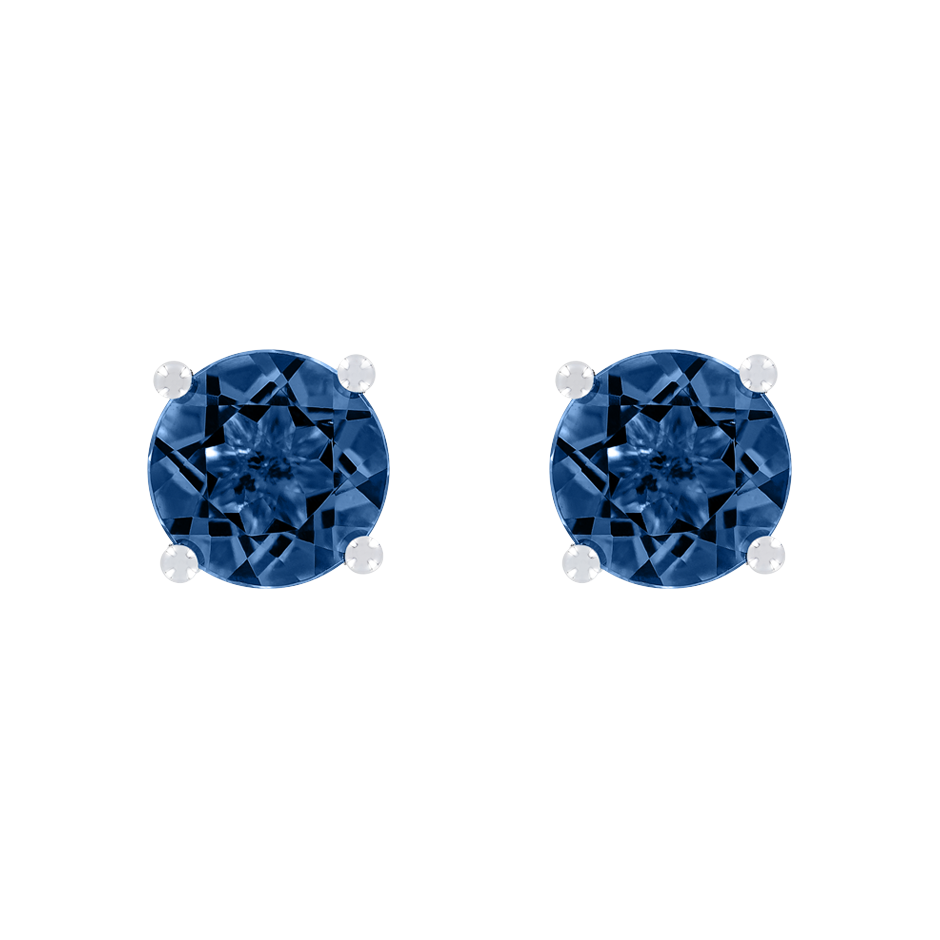 Stud Earrings 4 Prongs Sapphire blue in White Gold
