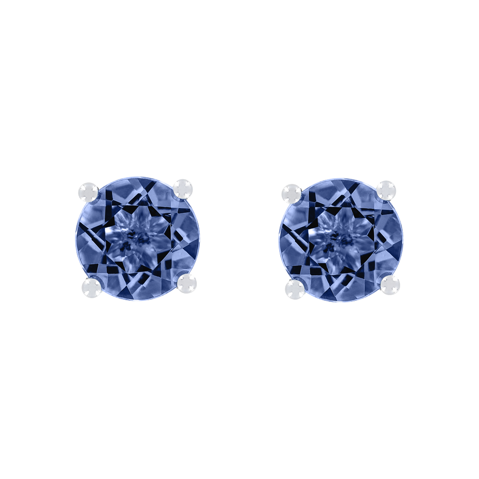 Stud Earrings 4 Prongs Tanzanite blue in White Gold