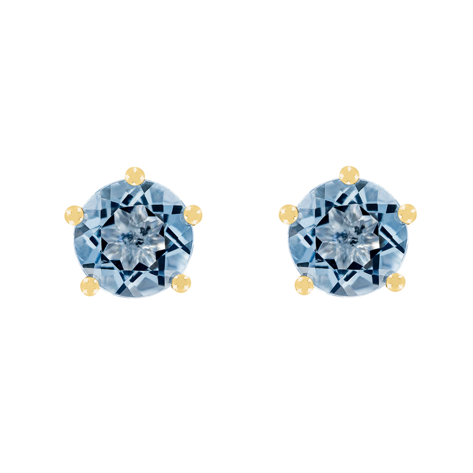 Stud Earrings 5 Prongs Aquamarine blue in Yellow Gold