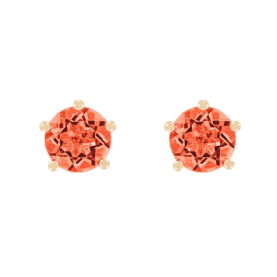 Stud Earrings 5 Prongs Fire Opal orange in Rose Gold