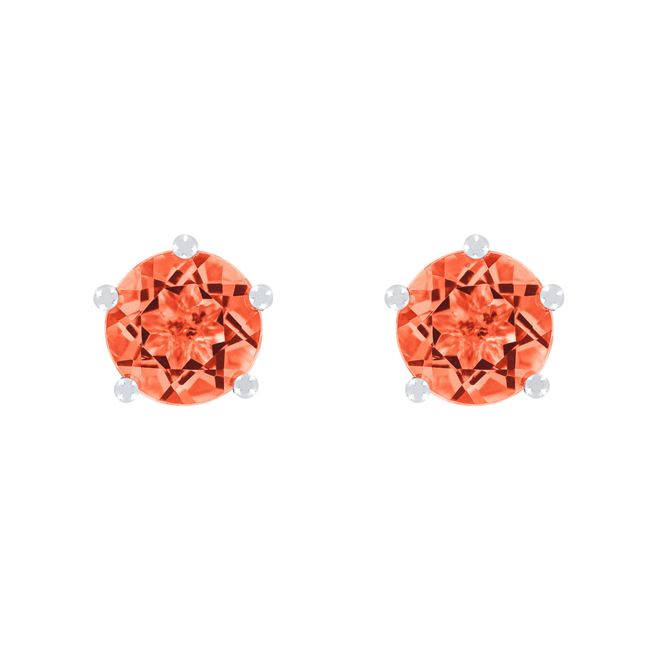 Stud Earrings 5 Prongs Fire Opal orange in White Gold