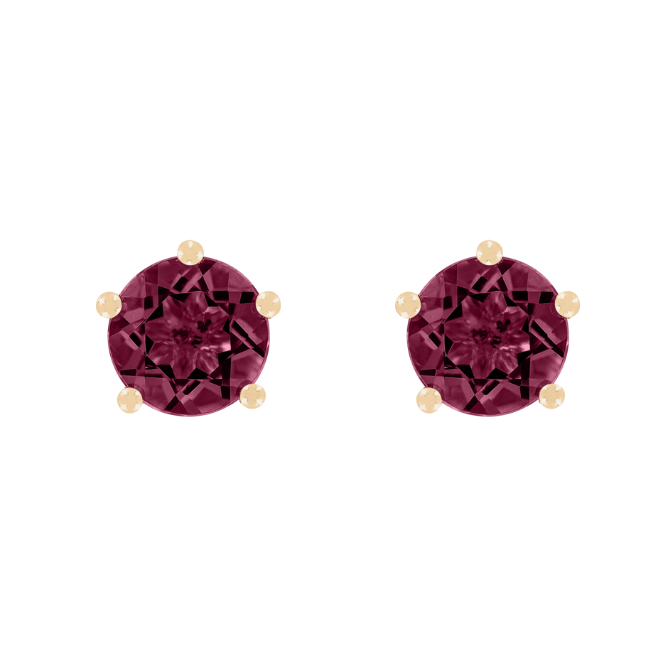Stud Earrings 5 Prongs Rhodolite red in Rose Gold