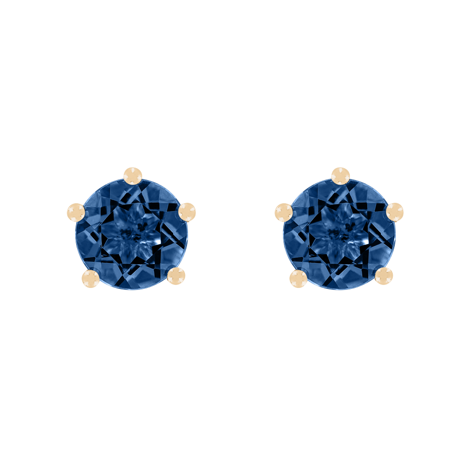 Stud Earrings 5 Prongs Sapphire blue in Rose Gold