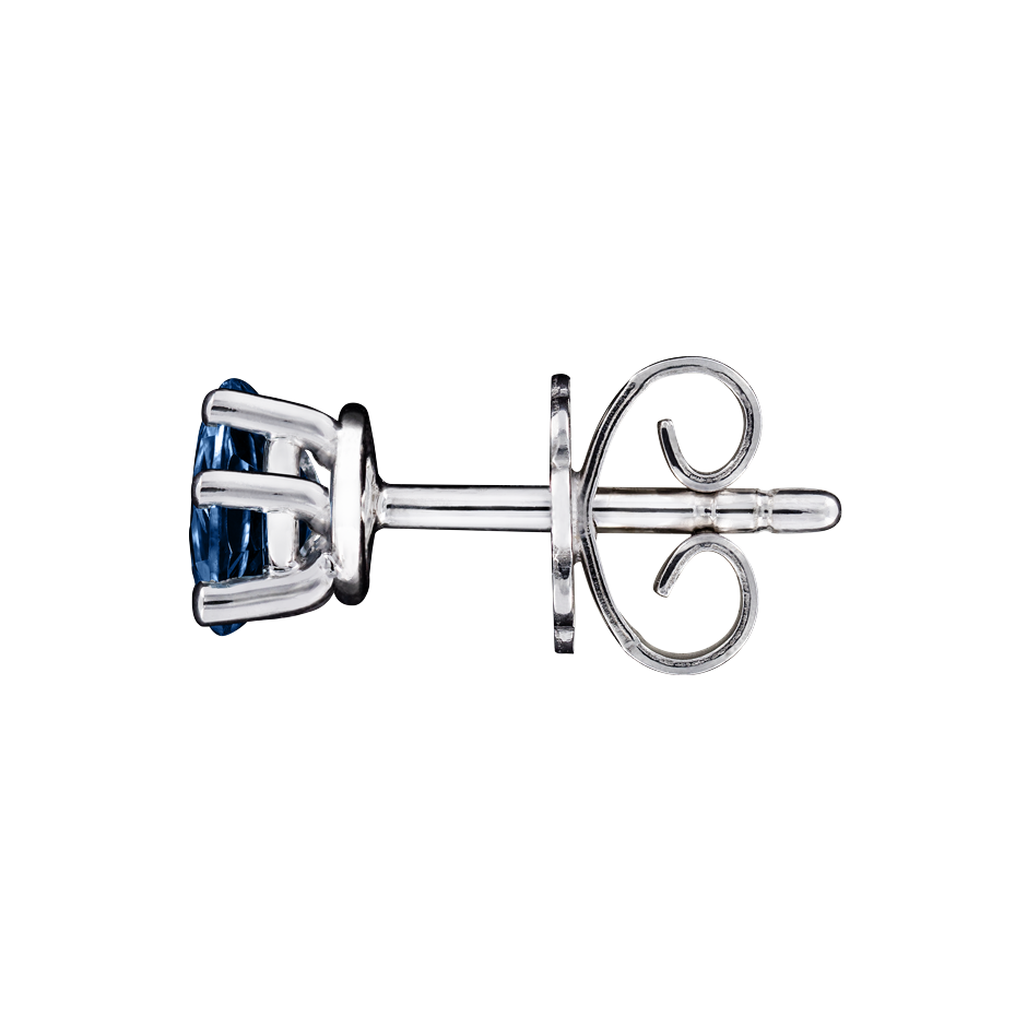 Stud Earrings 5 Prongs Sapphire blue in White Gold