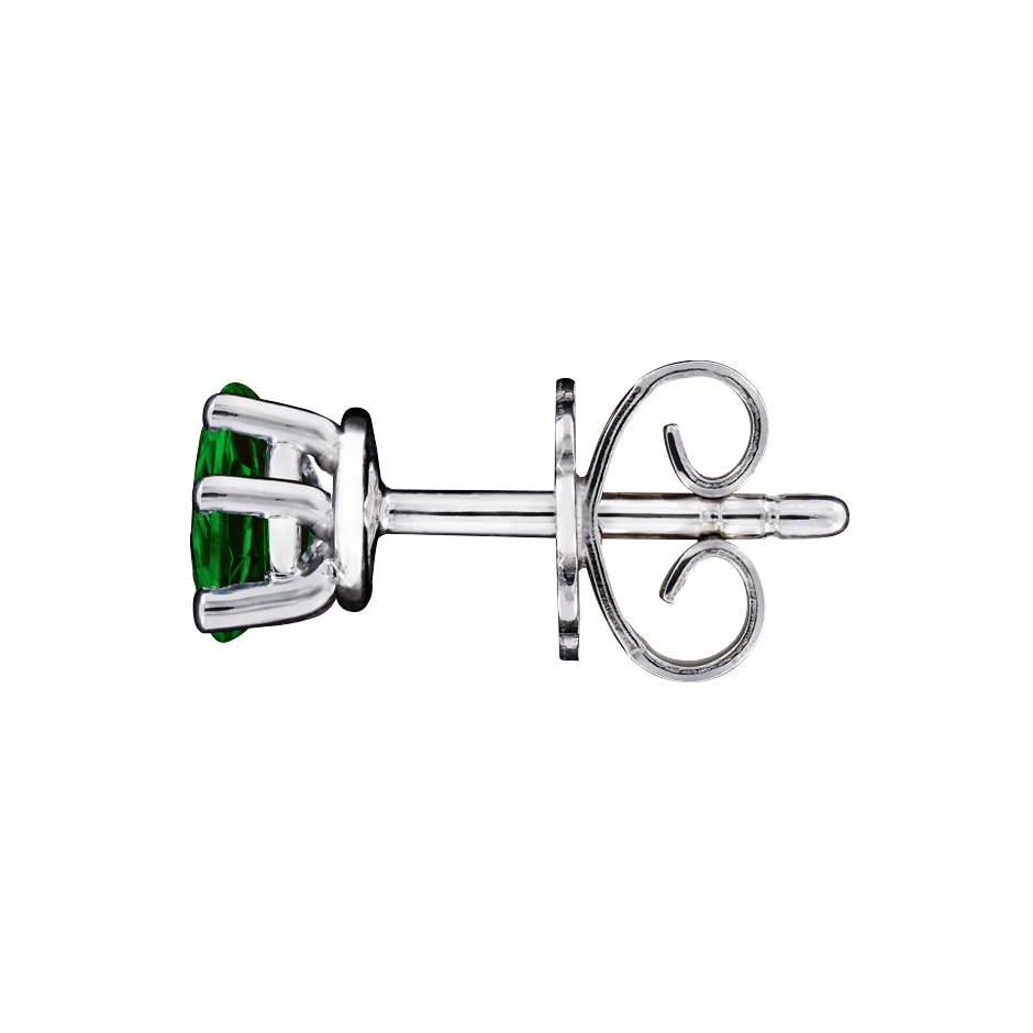 Stud Earrings 5 Prongs Tourmaline green in Platinum