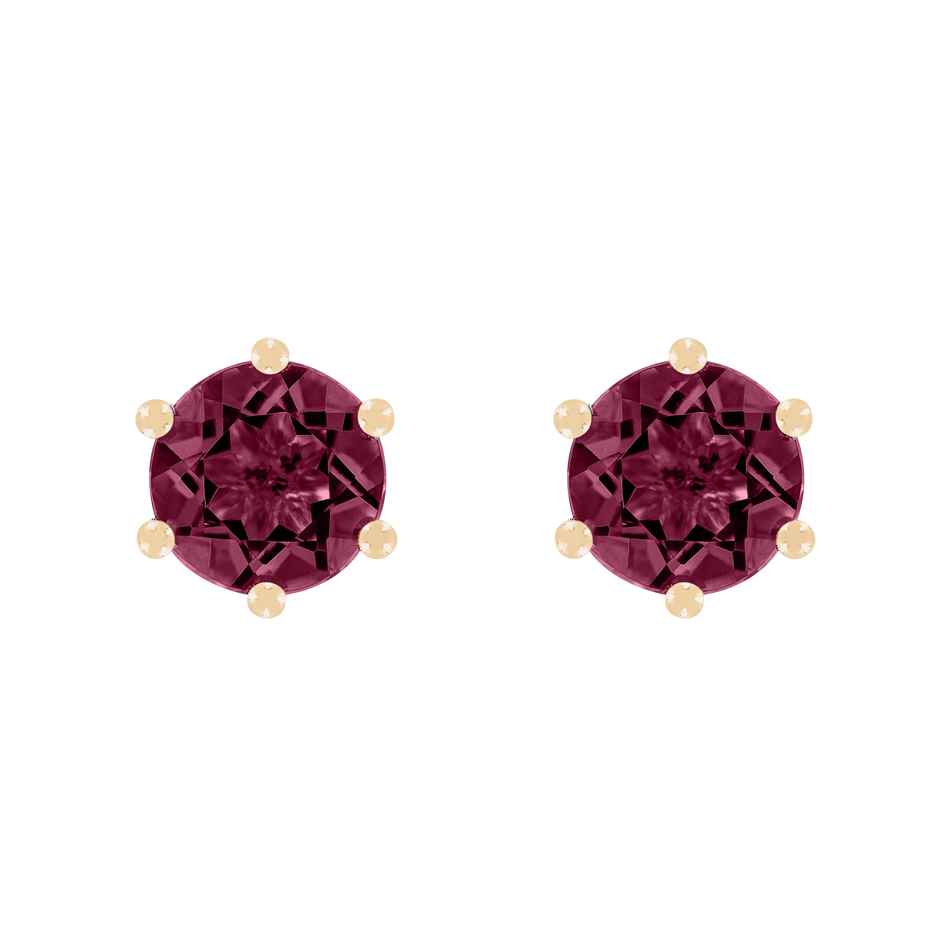 Stud Earrings 6 Prongs Rhodolite red in Rose Gold