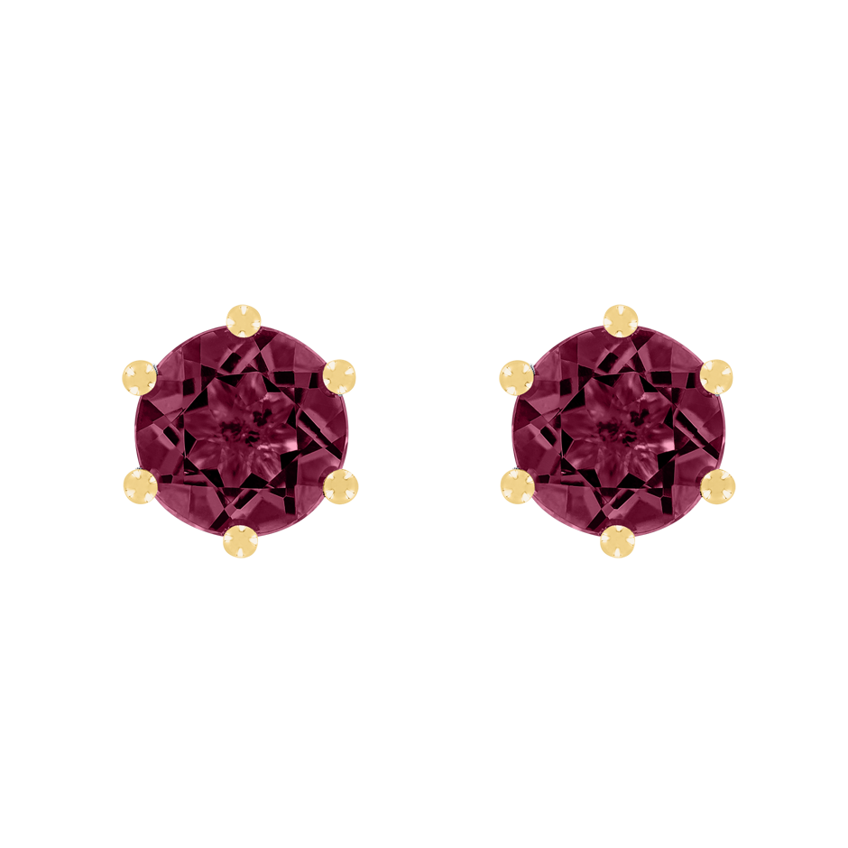 Stud Earrings 6 Prongs Rhodolite red in Yellow Gold