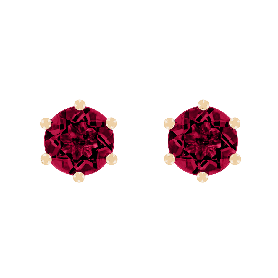 Stud Earrings 6 Prongs Ruby red in Rose Gold