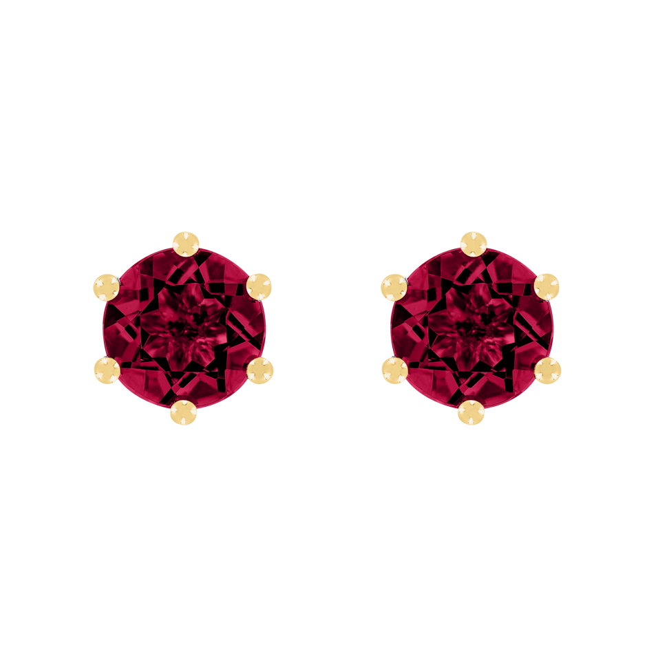 Stud Earrings 6 Prongs Ruby red in Yellow Gold