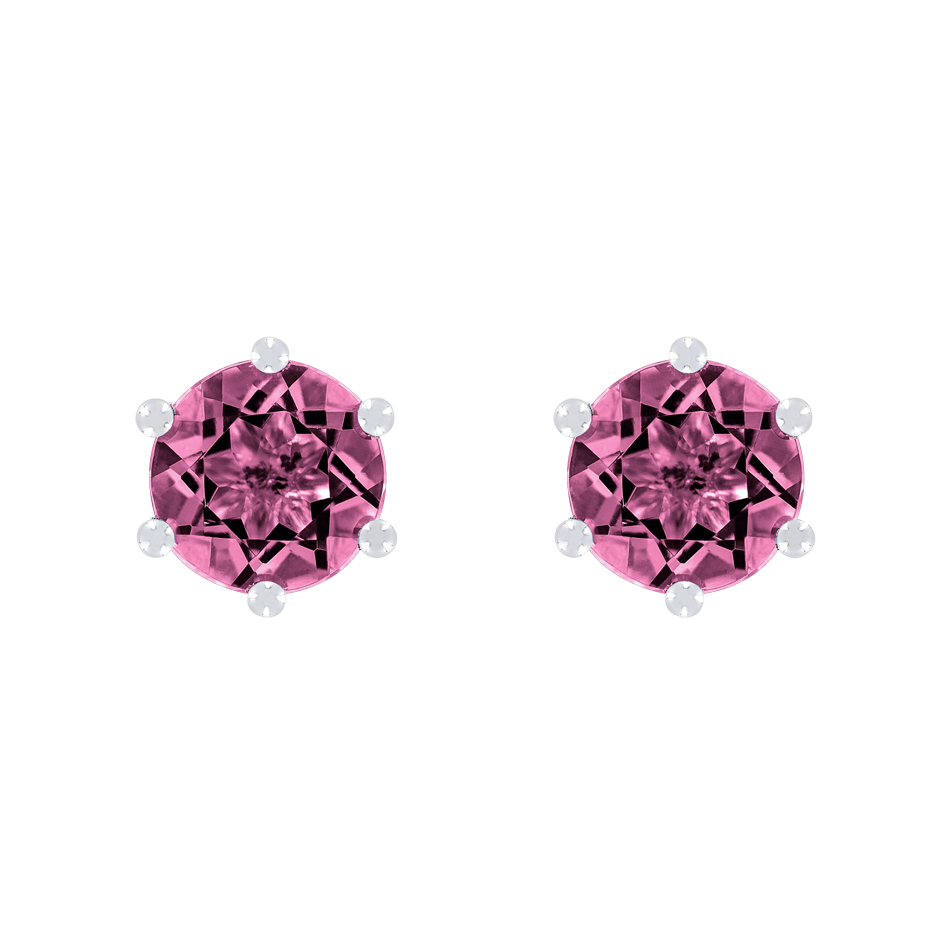 Stud Earrings 6 Prongs Tourmaline pink in Platinum