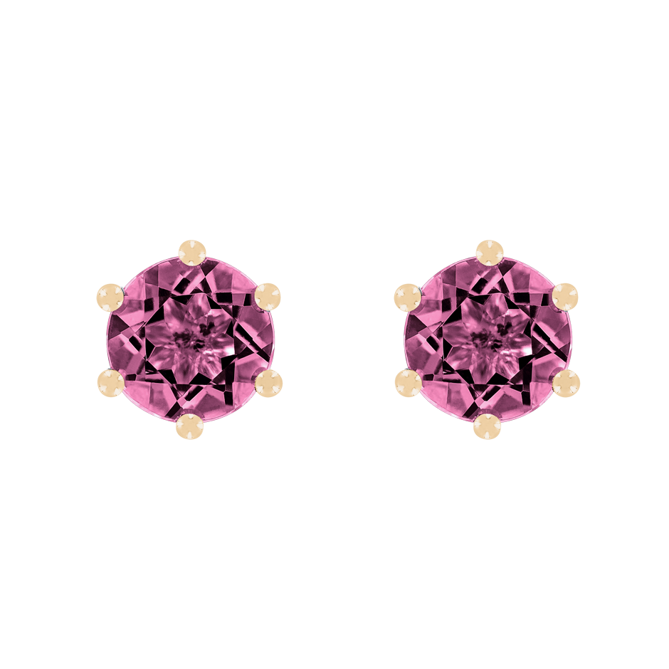 Stud Earrings 6 Prongs Tourmaline pink in Rose Gold
