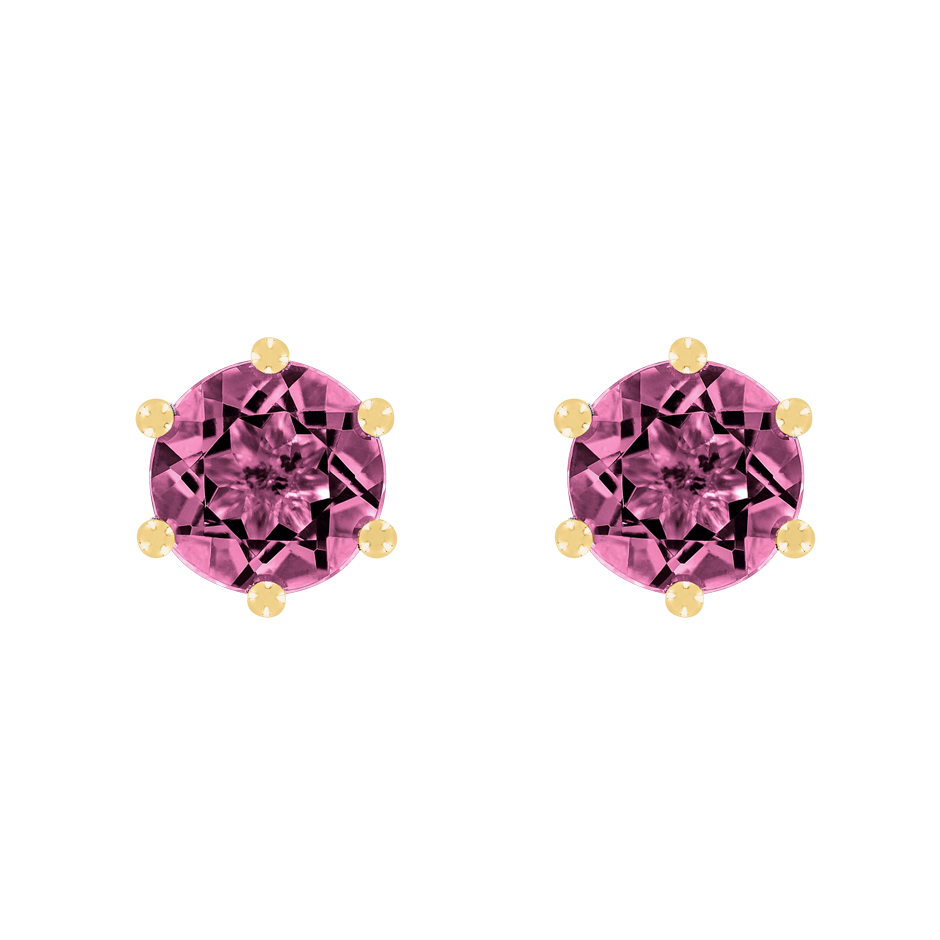 Stud Earrings 6 Prongs Tourmaline pink in Yellow Gold