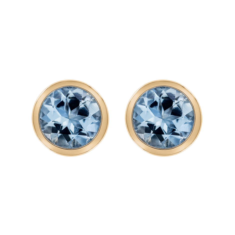 Stud Earrings Bezel Aquamarine blue in Rose Gold