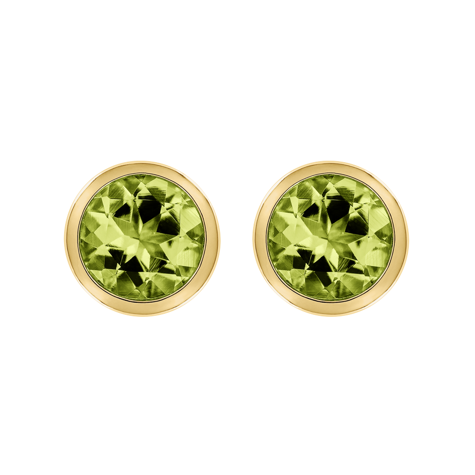 Stud Earrings Bezel Peridot green in Yellow Gold