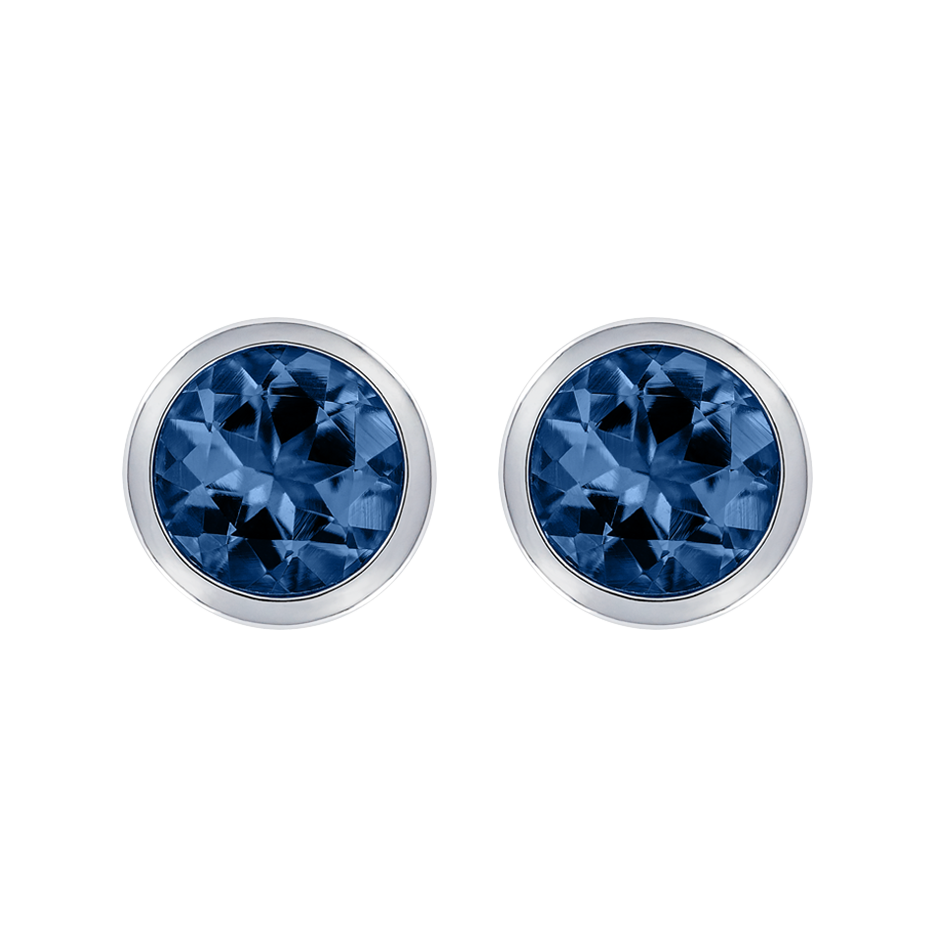 Stud Earrings Bezel Sapphire blue in Platinum