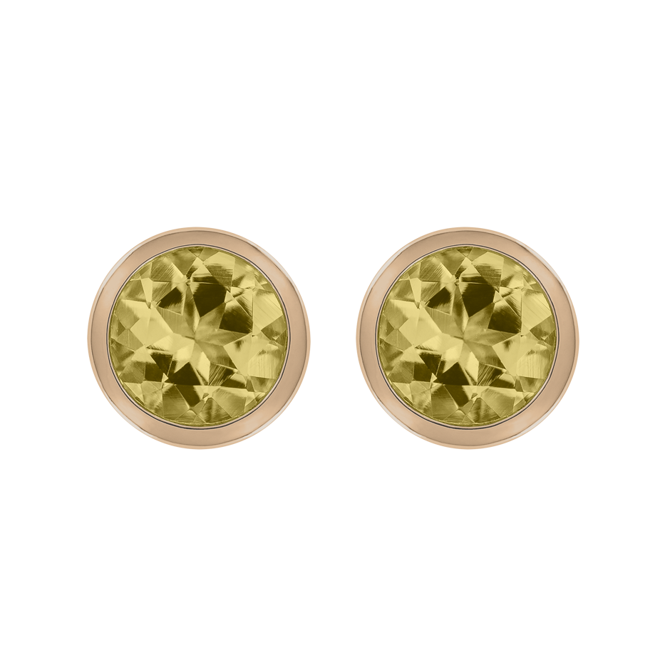 Stud Earrings Bezel Sapphire yellow in Rose Gold