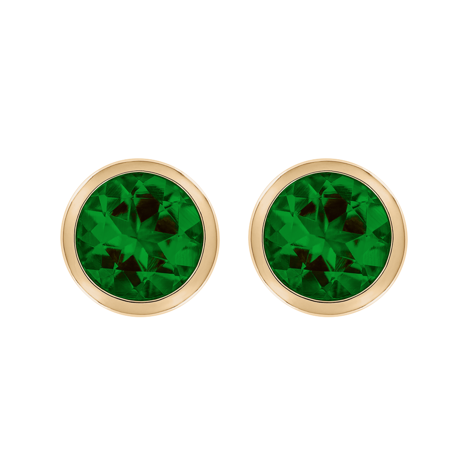 Stud Earrings Bezel Tourmaline green in Rose Gold