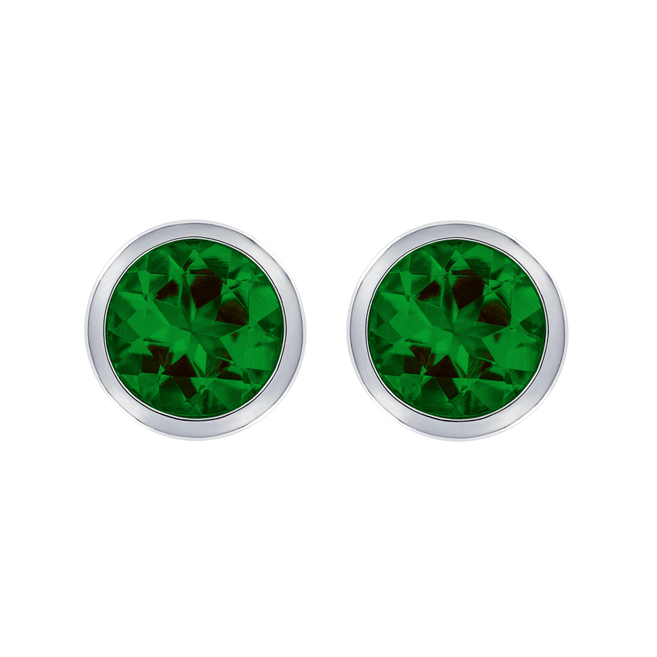 Stud Earrings Bezel Tourmaline green in White Gold
