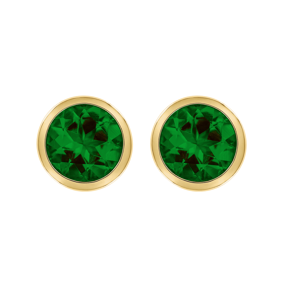 Stud Earrings Bezel Tourmaline green in Yellow Gold