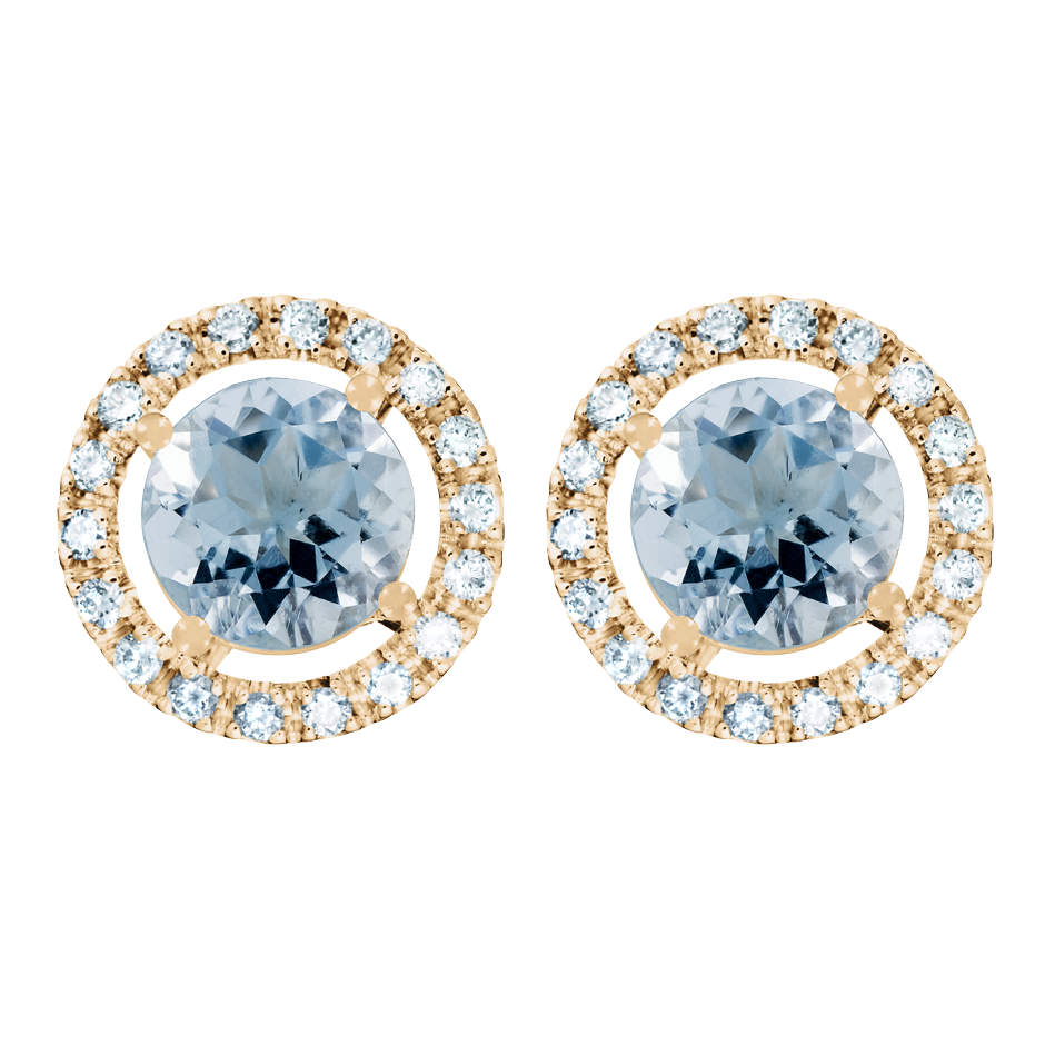 Stud Earrings Halo Aquamarine blue in Rose Gold