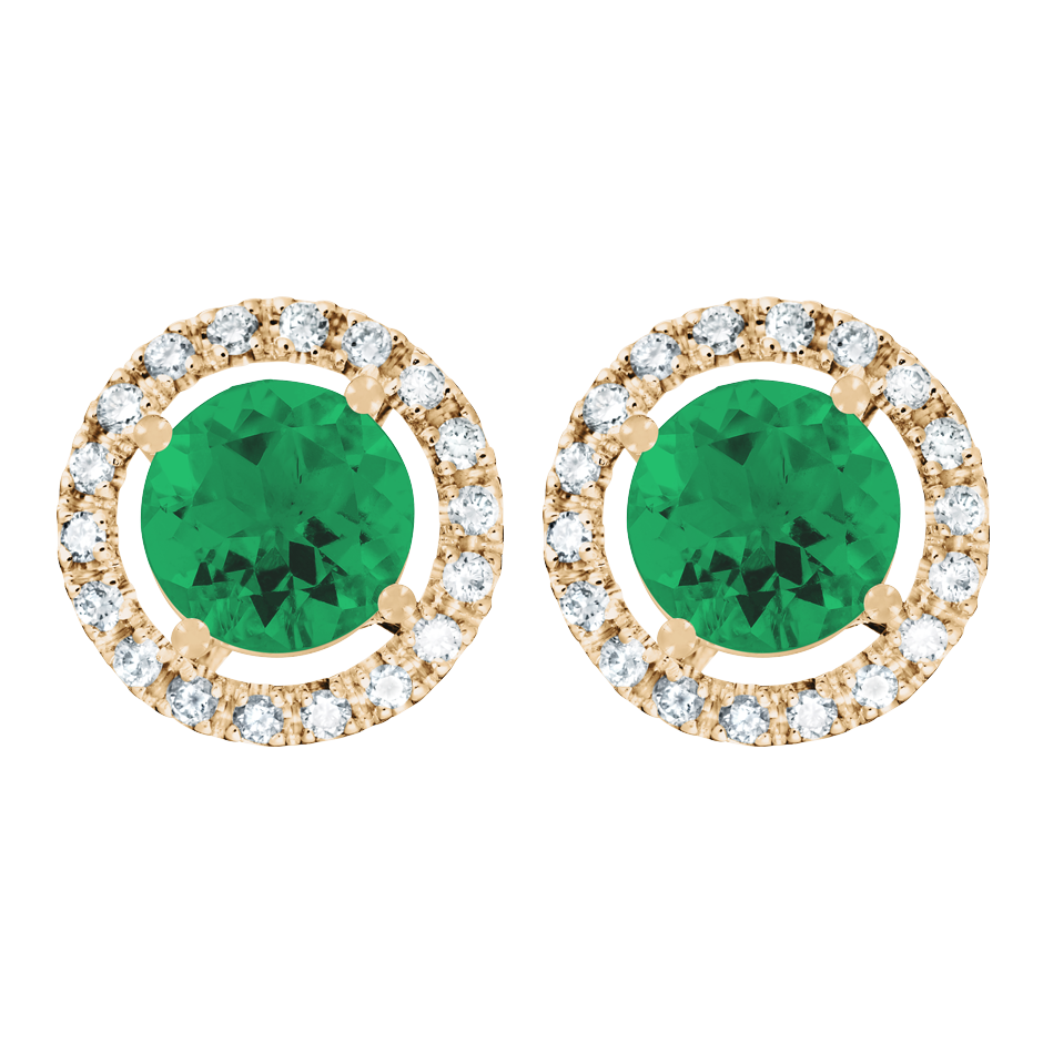 Stud Earrings Halo Emerald green in Rose Gold