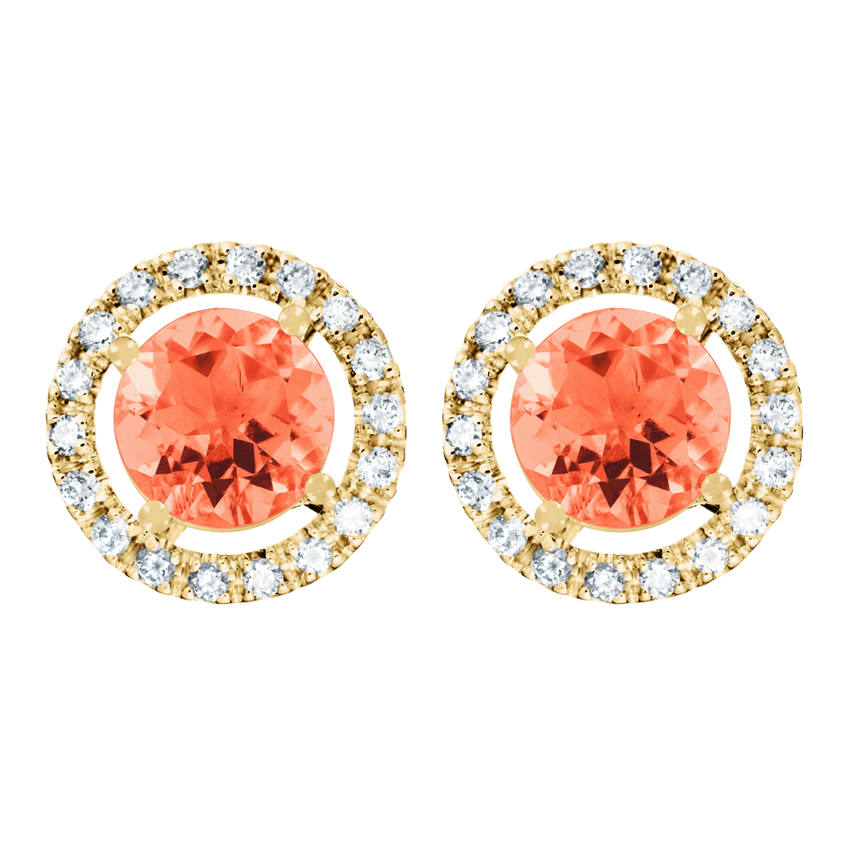 Stud Earrings Halo Fire Opal orange in Yellow Gold