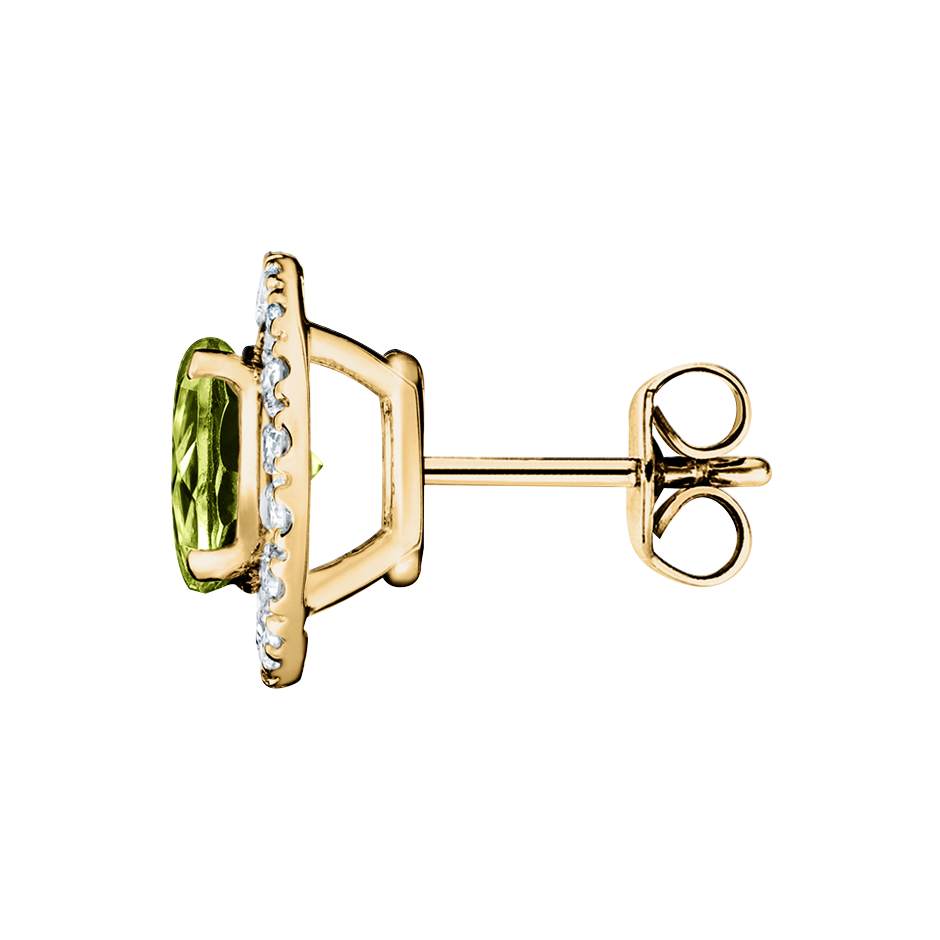 Stud Earrings Halo Peridot green in Yellow Gold