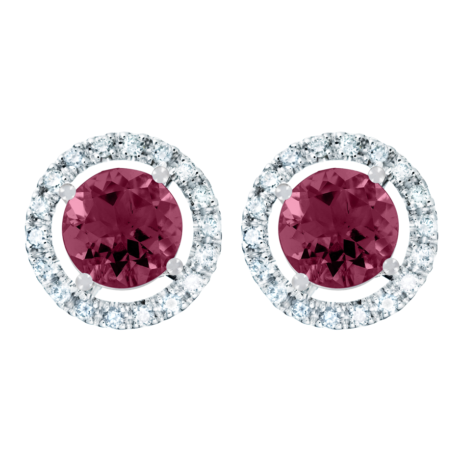 Stud Earrings Halo Rhodolite red in White Gold