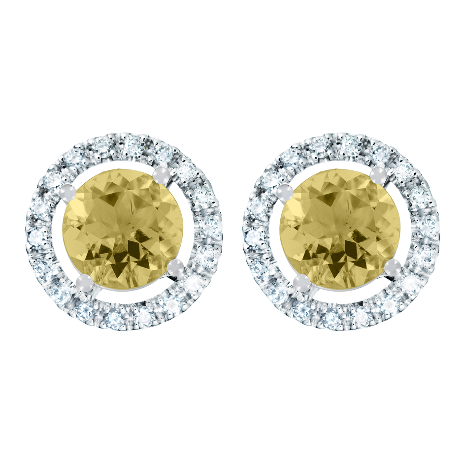 Stud Earrings Halo Sapphire yellow in White Gold