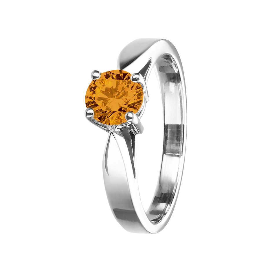 Vancouver Madeira Citrine orange in Platinum